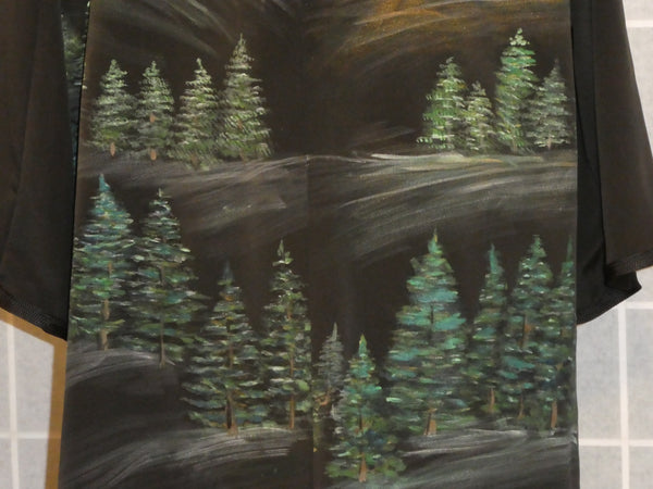 silk painting pine forest black jacket