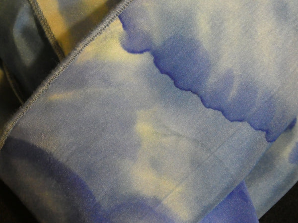Silk scarf blue and white hand dyed scarf #S196