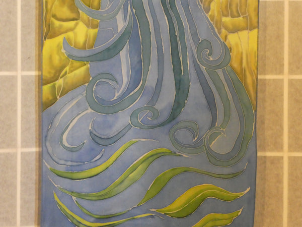 waterfall silk painting wall hanging original