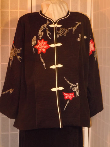 "Plus size Black silk jacket ""Shibori flowers"" from vintage kimono, Special Occasion, XXL blazer #F63"