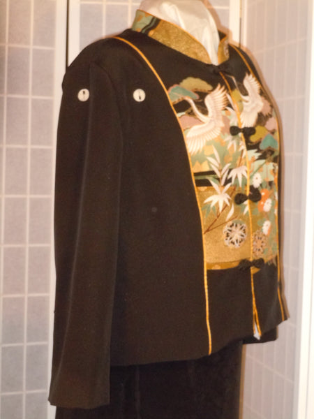 "Wearable art jacket size XL ""cranes and wheels"" from Japanese kimono silk #F64"