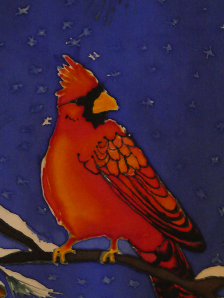 Christmas painting scarf wall hanging cardinals