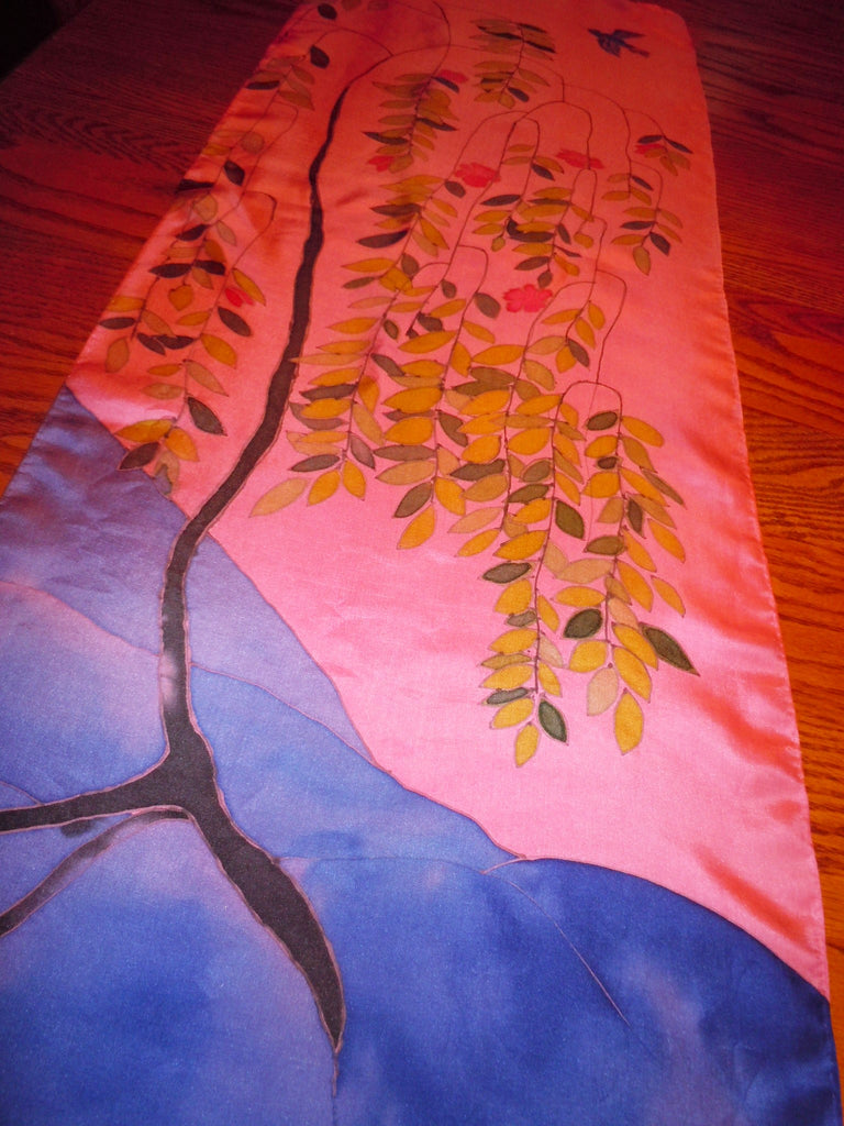 Hand painted scarf; silk table runner; silk painting wall hanging; wearable art; weeping cherry tree; bird painting; home decor #S128