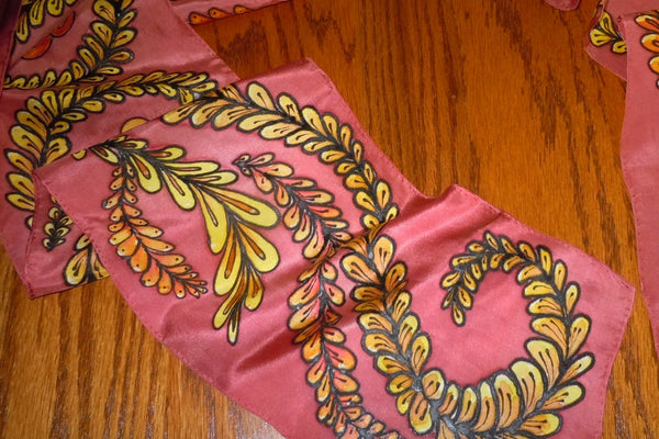 "Hand painted original design silk scarf; gold and cinnabar, ""Asian vines"", one-of-a-kind #S53"