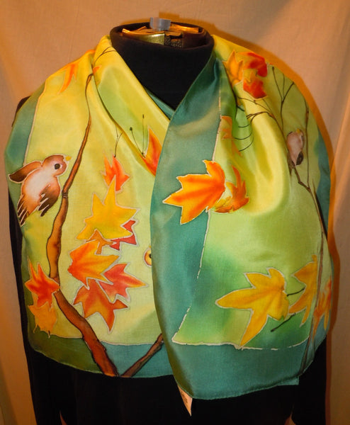hand painted scarf birds