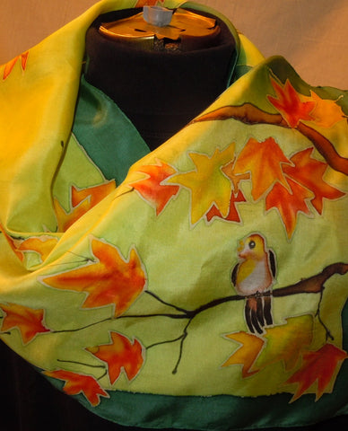 Silk scarf hand painted birds on branches, blue, green #S84