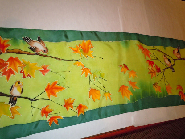 green silk scarf hand painted