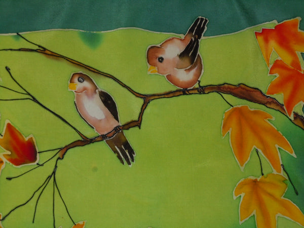 original art painted silk scarf