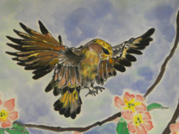 birds silk painting dyed