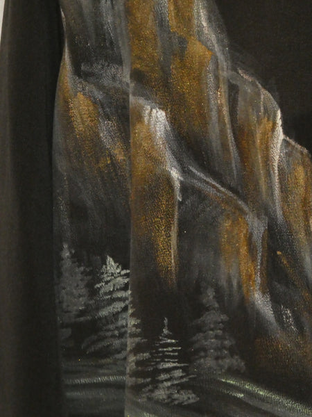 Silk painting Asian mountains