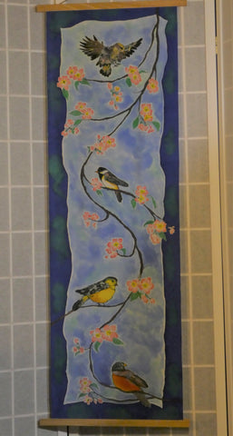 Silk wall hanging scarf hand painted birds