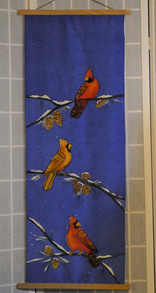 cardinals wall hanging hand painted silk
