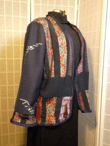 wearable art jacket pieced silk ties size large