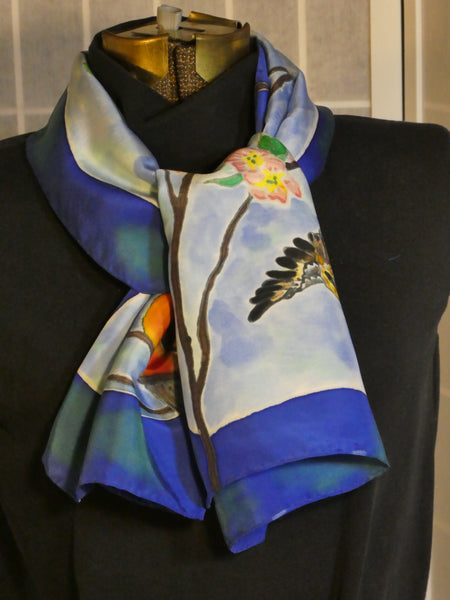 one of a kind silk scarf hand painted birds