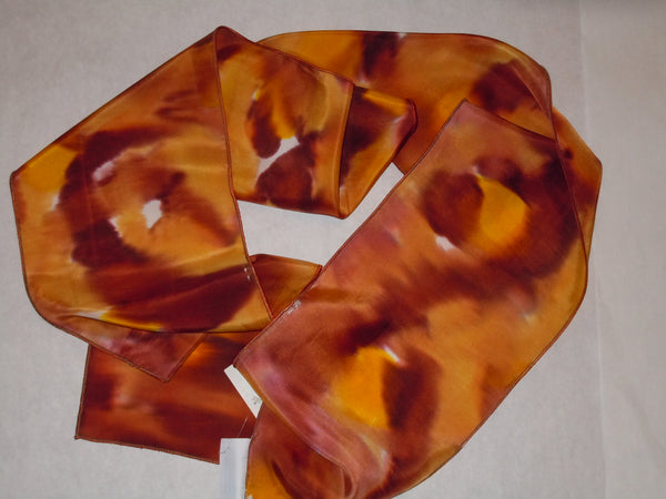 Silk scarf rust orange brown hand painted original design long scarf #S167