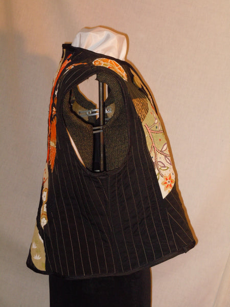 Black XL vest, quilted patchwork silk from Japanese kimono. One of a kind #V2