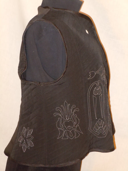Black quilted vest, silk, original design, XXL Plus size #V3
