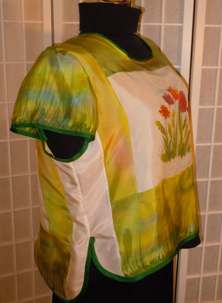 Silk top hand painted silk blouse size medium top; silk shirt; flowers; floral top; #V9