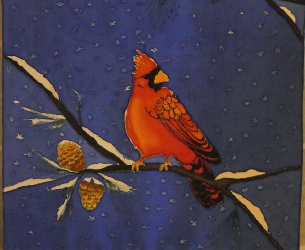 silk painting cardinals on silk