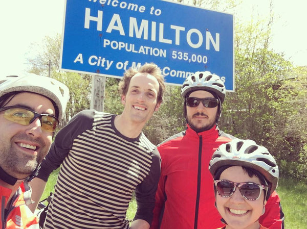 Team photo at the entrance to Hamilton. Pictured L-R: Kyle, Justin, Alexei, Khadijah