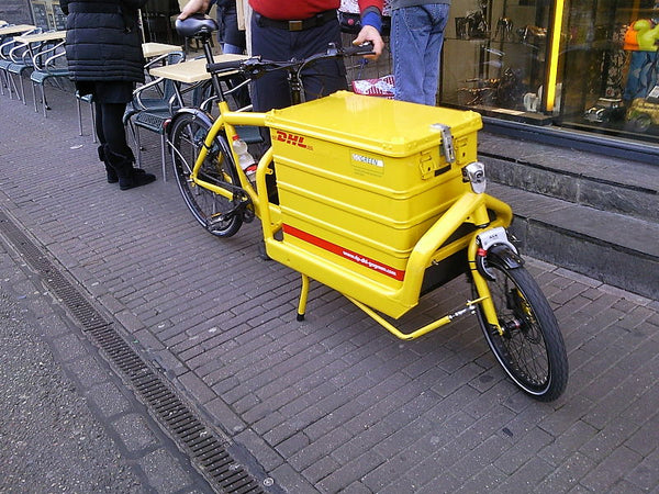 Courier company DHL uses cargo bikes in many European cities