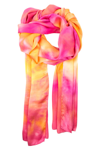Geometric pink satin scarf 45x180 - Shibori collection