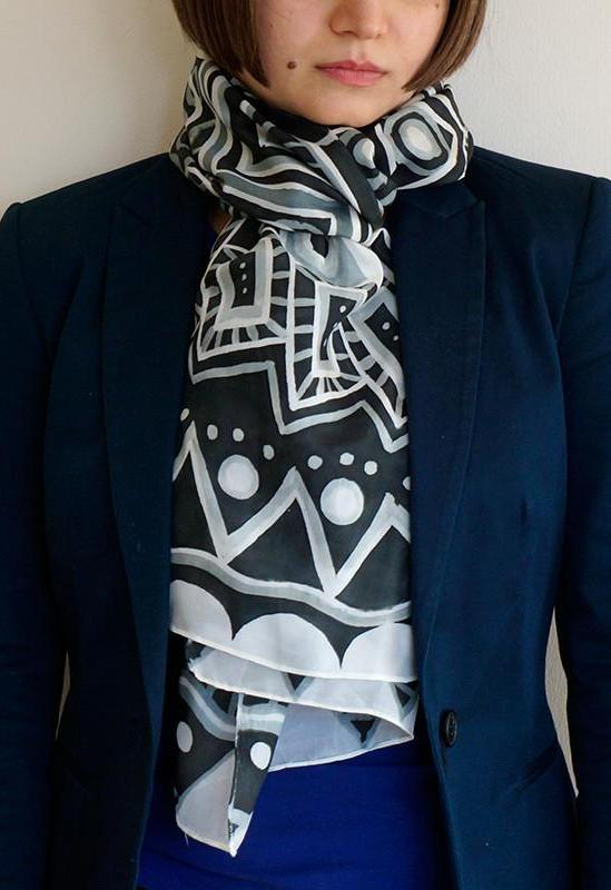 Monotone Geometry scarf - Arati Devasher: Painted Silk Accessories - Scarf - 2