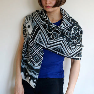 Monotone Geometry scarf - Arati Devasher: Painted Silk Accessories - Scarf - 1