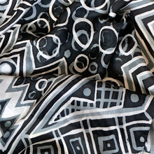 Load image into Gallery viewer, Monotone Geometry scarf - Arati Devasher: Painted Silk Accessories - Scarf - 3