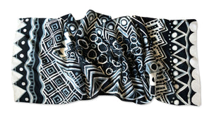 Monotone Geometry scarf - Arati Devasher: Painted Silk Accessories - Scarf - 4