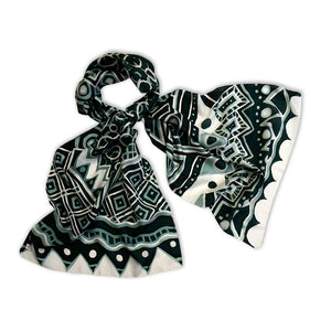 Monotone Geometry scarf - Arati Devasher: Painted Silk Accessories - Scarf - 5