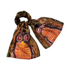 Load image into Gallery viewer, Wise Brown Owls scarf - Arati Devasher: Painted Silk Accessories - Scarf - 4