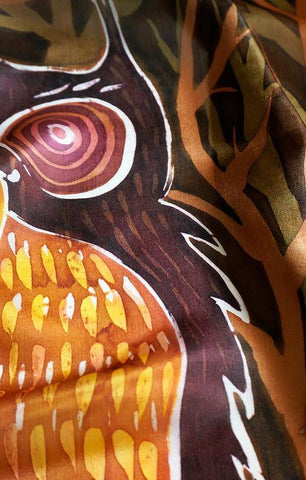 Wise Brown Owls scarf - Arati Devasher: Painted Silk Accessories - Scarf - 1