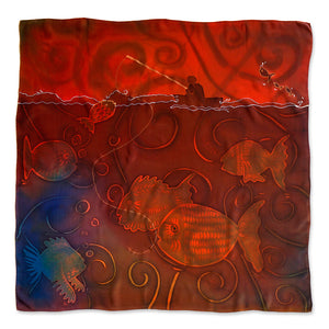 Fish the Deeps scarf - Arati Devasher: Painted Silk Accessories - Scarf - 1