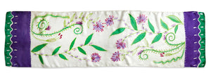 Purple Blooms scarf - Secret Garden collection - Arati Devasher: Painted Silk Accessories - Scarf - 2