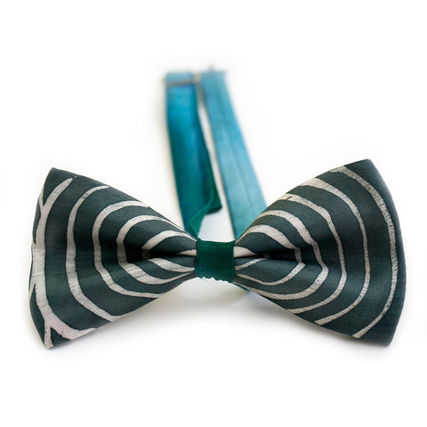 Geometric grey bow tie with blue strap - Mr Grey collection