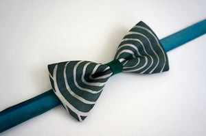 Mr Turquoise Gray bow tie - Arati Devasher: Painted Silk Accessories - Bow Tie - 3