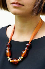 Load image into Gallery viewer, Amber Lights necklace - Arati Devasher: Painted Silk Accessories - Necklace - 2