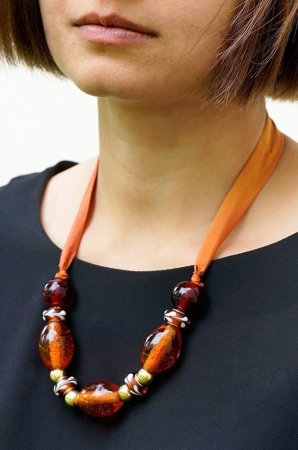 Amber Lights necklace - Arati Devasher: Painted Silk Accessories - Necklace - 2