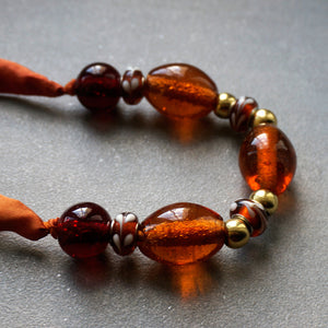 Amber Lights necklace - Arati Devasher: Painted Silk Accessories - Necklace - 5