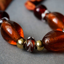 Load image into Gallery viewer, Amber Lights necklace - Arati Devasher: Painted Silk Accessories - Necklace - 4