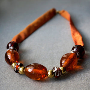 Amber Lights necklace - Arati Devasher: Painted Silk Accessories - Necklace - 1