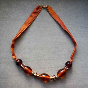Amber Lights necklace - Arati Devasher: Painted Silk Accessories - Necklace - 3