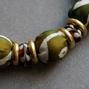 Camouflage necklace - Arati Devasher: Painted Silk Accessories - Necklace - 4