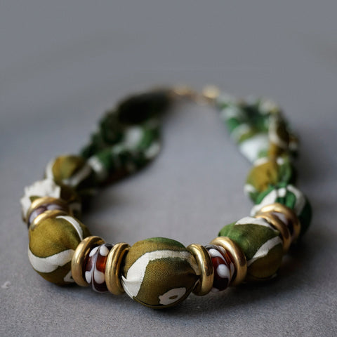Camouflage necklace - Arati Devasher: Painted Silk Accessories - Necklace - 1