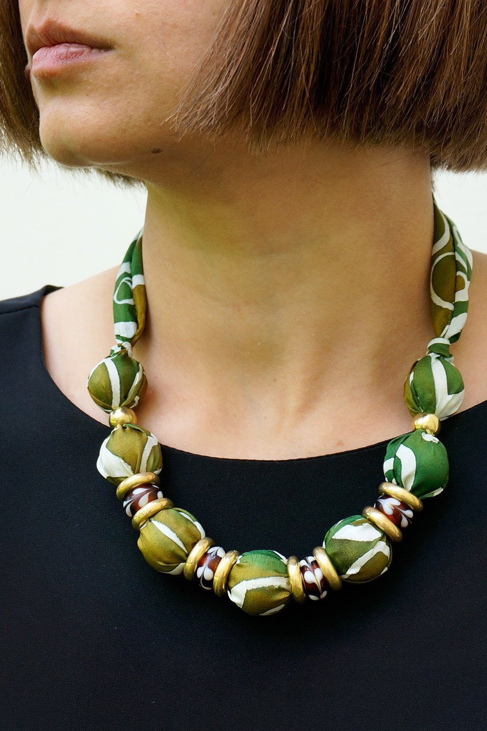 Camouflage necklace - Arati Devasher: Painted Silk Accessories - Necklace - 2