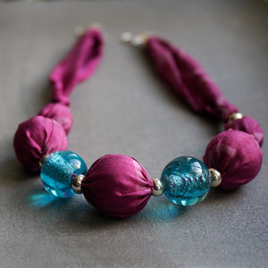 Candy Floss necklace - Arati Devasher: Painted Silk Accessories - Necklace - 1
