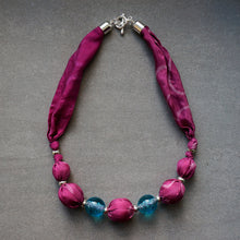 Load image into Gallery viewer, Candy Floss necklace - Arati Devasher: Painted Silk Accessories - Necklace - 3