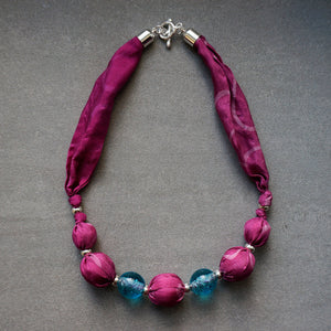 Candy Floss necklace - Arati Devasher: Painted Silk Accessories - Necklace - 3