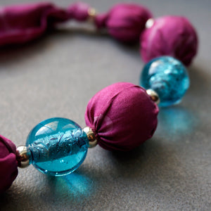 Candy Floss necklace - Arati Devasher: Painted Silk Accessories - Necklace - 4